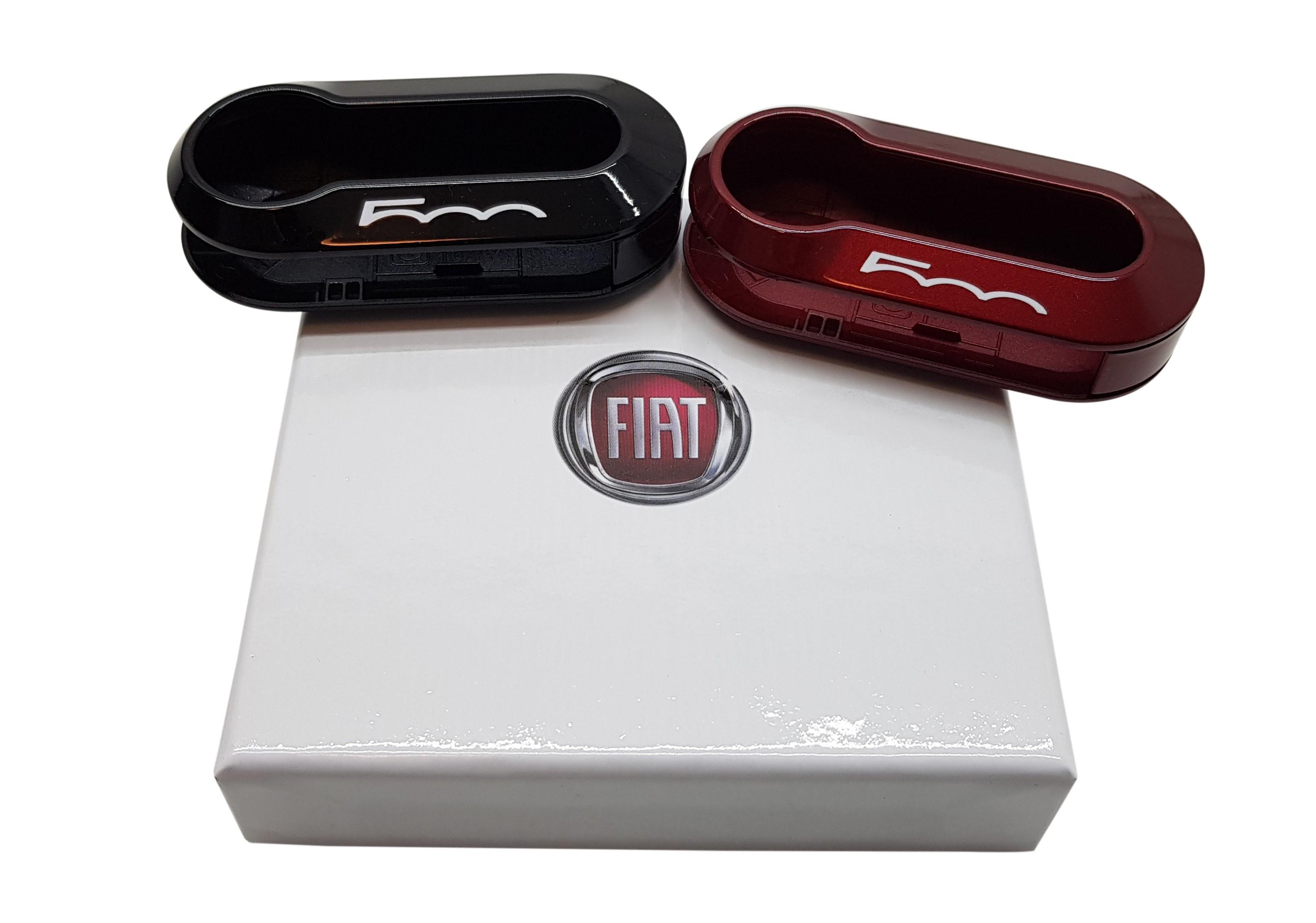 Original Fiat Schlüsselcover Set bordeaux rot /& schwarz Fiat 500 Logo 50927026
